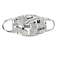 Newspaper Print 3 Layer Reusable Face Covering