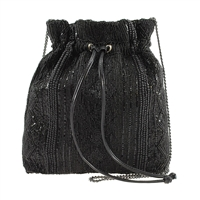 Mary Frances Black Out Beaded Drawstring Pouchette Bag