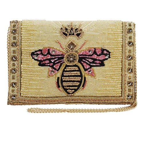 Mary Frances Buzzed Queen Bee Beaded Convertible Clutch Crossbody
