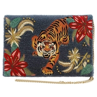 Mary Frances Fierce Tiger Beaded Embroidered Convertible Clutch
