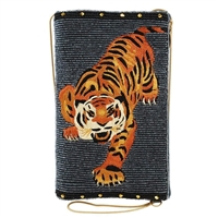 Mary Frances Fierce Tiger Beaded iPhone Crossbody