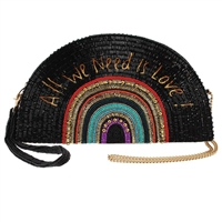 Mary Frances On The Record Beaded Half Moon Crossbody Clutch
