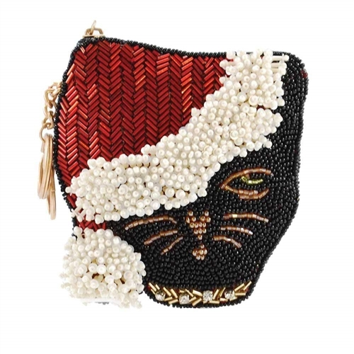 Mary Frances Santa Claws Cat Beaded Zip Coin Purse