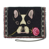 Mary Frances Bow Wow Boston Terrier Frenchie Dog Clutch Crossbody