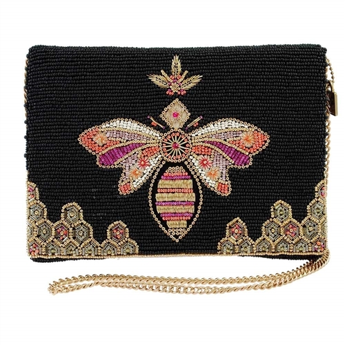 Mary Frances Bee Lieve Queen Bee Beaded Convertible Clutch Crossbody