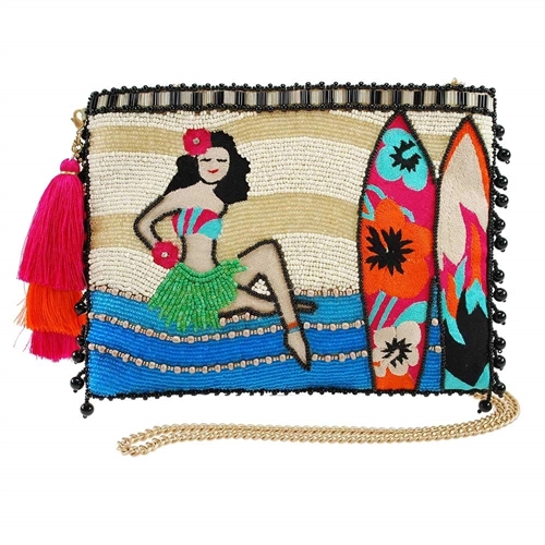 Mary Frances Island Vibes Hula Girl Surfer Beaded Handbag