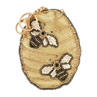 Mary Frances Oh Honey Bee Hive Beaded Zip Coin Purs