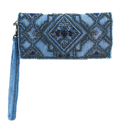 Mary Frances Symmetry Blue Beaded iPhone Wristlet Wallet