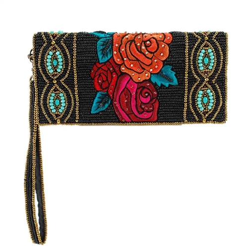 Mary Frances Frida's Flowers Beaded iPhone Wristlet Wallet