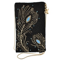 Mary Frances Disney Shimmering Feathers Beaded Phone Crossbody