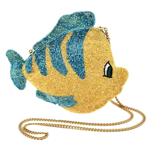 Mary Frances Disney Flounder The Little Mermaid Beaded Crossbody,