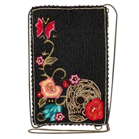 Mary Frances Skull Tattoo Flower Beaded Phone Crossbody