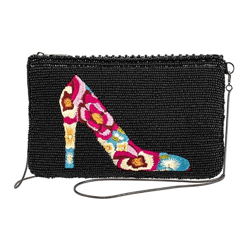 Mary Frances Floral Embroidered High Heel Beaded Phone Crossbody
