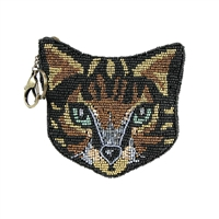 Mary Frances Here Kitty Tabby Cat Zip Coin Purse