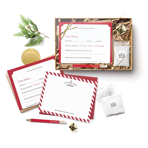 Santa Letter 12 PC Kit Letters To & From Santa, Official Santa Seals, Bag of Snow, Jingle Bell & Mini Pencil