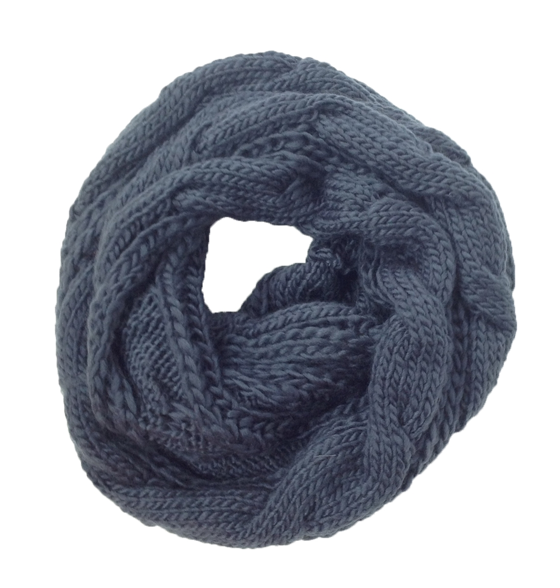 Cambridge Classic Cable Knit Infinity Scarf Grey