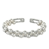 Daphne Simulated Pearl & Crystal Double Line Cuff Bracelet