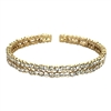 Liz Floating Crystal Set Double Line Cuff Bracelet