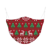 Ugly Christmas Holiday Print Reusable 3D Face Covering Red Sweater