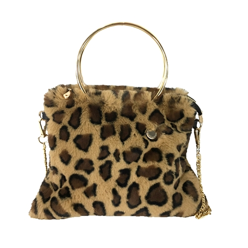 Alessia Massimo Chloe Faux Fur Ring Handle Convertible Crossbody