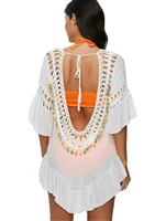Tassel Crochet Tunic Swim Cover Up