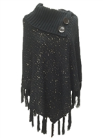 Sequin Cowl Turtleneck Poncho Sweater