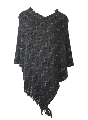 Lace Knit Poncho Sweater w Fringe