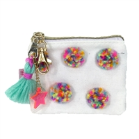 Multi Color Pom Pom Mini Zip Pouch Keychain Multi Purpose Case