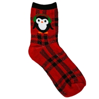 Top It Off Plaid Penguin Crew Socks