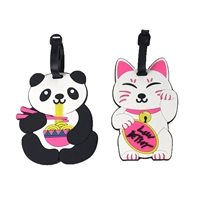 Luv Betsey Johnson Ramen Noodle Panda & Lucky Cat Duo Luggage Tag Set