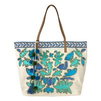 Steven Tucker Embroidered PomPom Tote