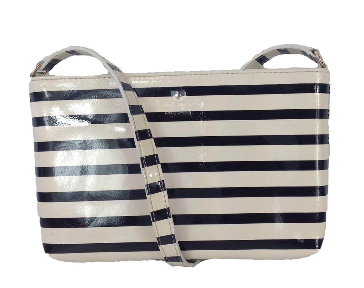 Kate Spade Harrison Street Tay Patent Leather Crossbody Bag Black Cream Stripe