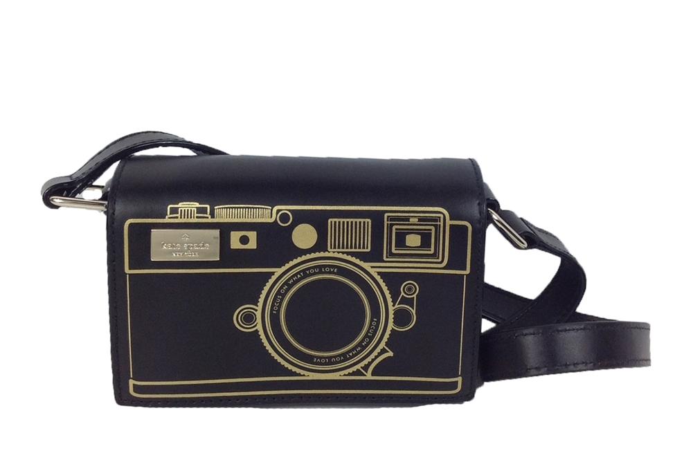 Kate Spade New York Lemon Street Gwen Camera Mini Crossbody Bag Black Gold