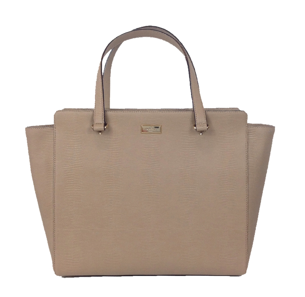 Kate Spade Bristol Drive Elissa Lizard Embossed Tote Bag Pipe Grey Taupe Brown