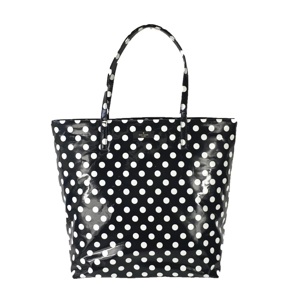 Kate spade polka dot bon shopper tote black cream junglespirit Choice Image