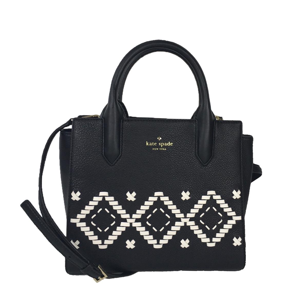 Kate Spade Flynn Street Small Meriwether Leather Satchel Black White