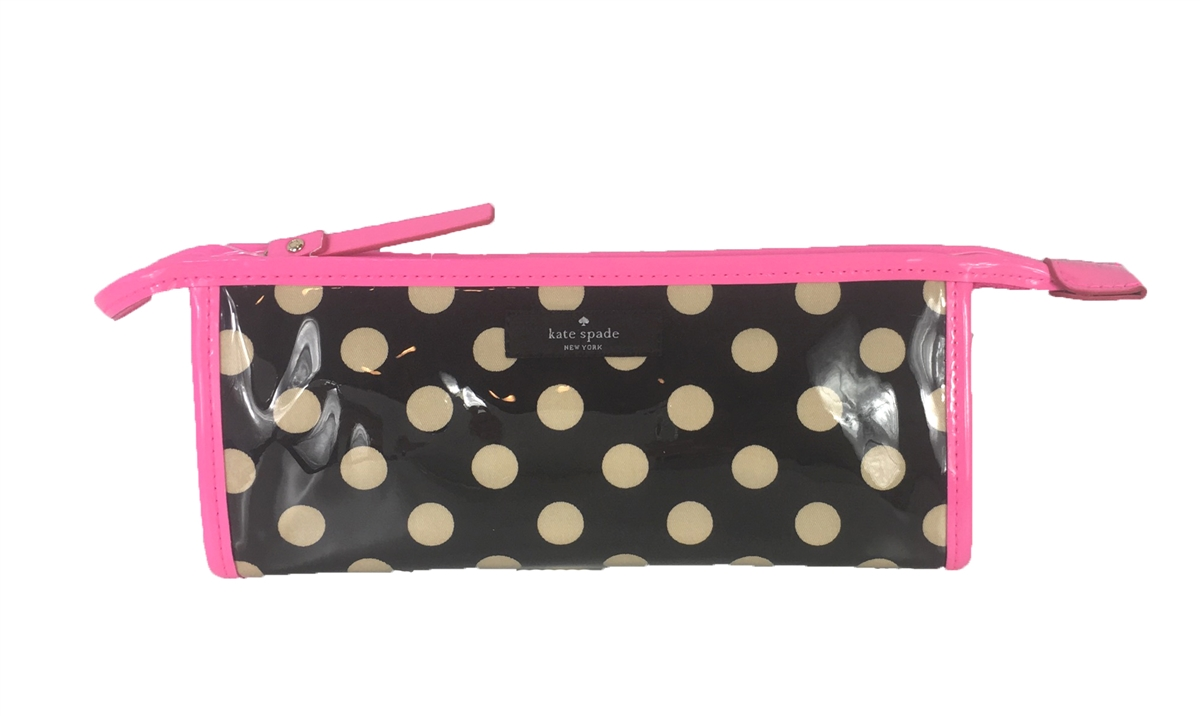 super popular 80195 f1f52 Kate Spade East West Heddy Travel Cosmetic Case, Black & Cream Polka Dot