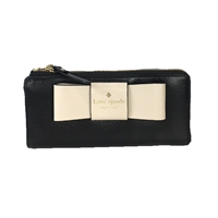 Kate Spade Nisha Bow Two Tone Leather Zip Wallet
