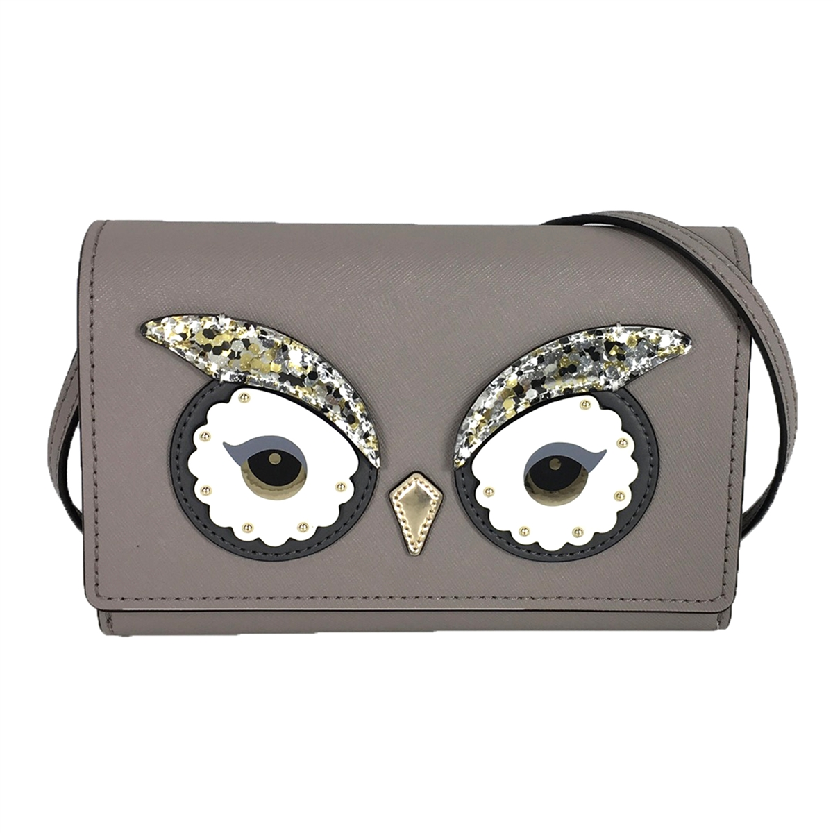 Kate Spade Owl Summer Saffiano Leather Clutch Crossbody Bag Cityscape Grey Taupe