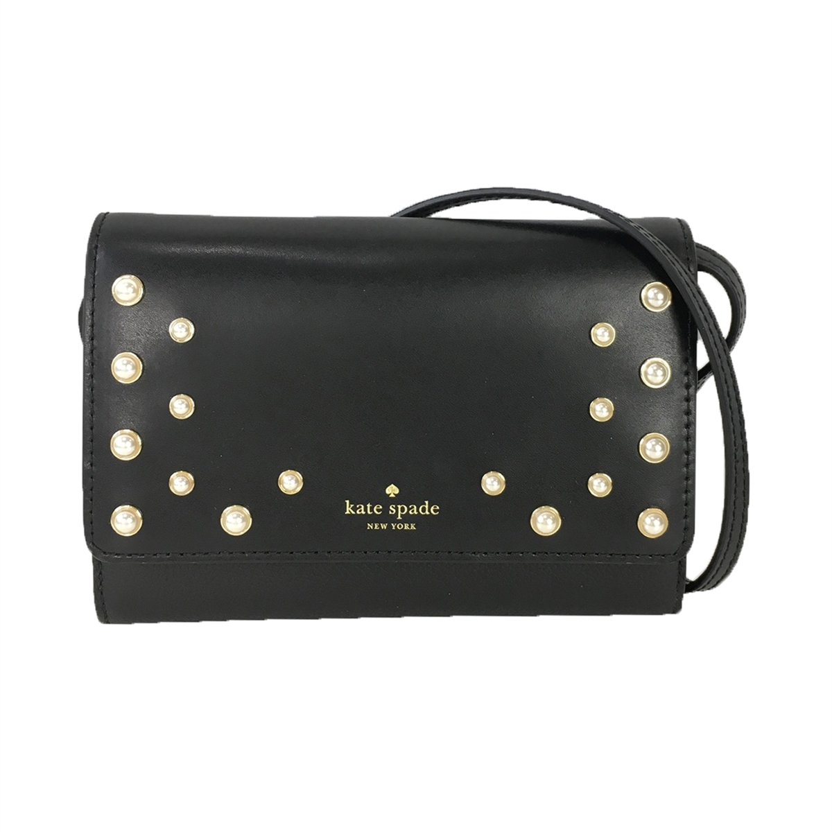 902d8a32e64a Kate Spade Pearl Summer Leather Wallet Clutch Crossbody Bag, Black