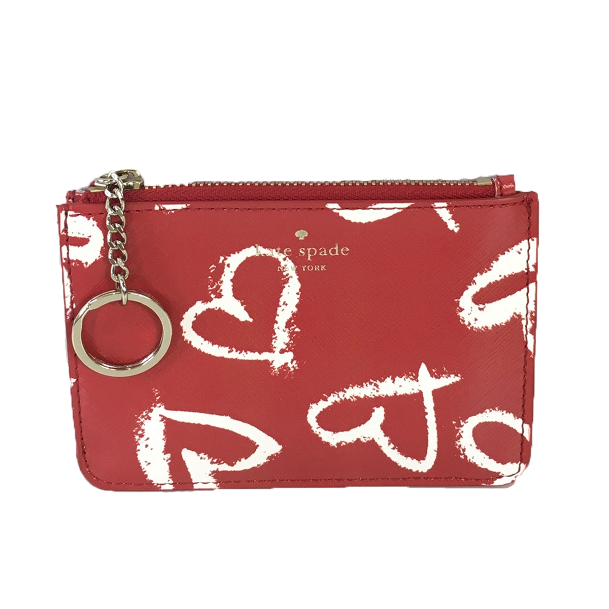 best service 9d806 873be Kate Spade Lipstick Hearts Print Bitsy ID Card Case, Red