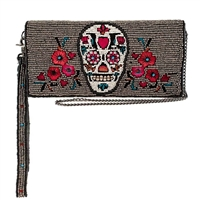 Mary Frances Head Case Sugar Skull Beaded Phone Wristlet Wallet Crossbody