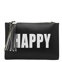 Melie Bianco Happy/Sad Vegan Leather Wristlet Crossbody