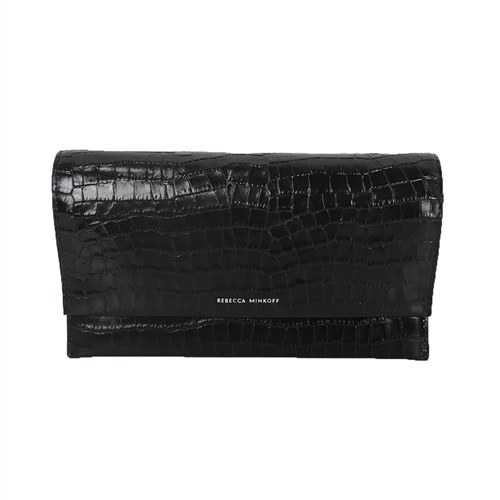 Rebecca Minkoff Croco Embossed Leather Wallet Clutch