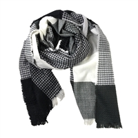 Oversized Plaid Colorblock Waffle Knit Blanket Scarf