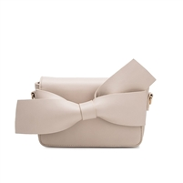 Melie Bianco Knotted Bow Vegan Leather Clutch