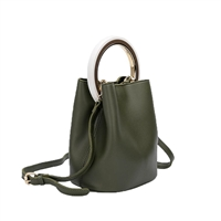 Melie Bianco Gemma Vegan Leather Ring Bucket Crossbody Bag