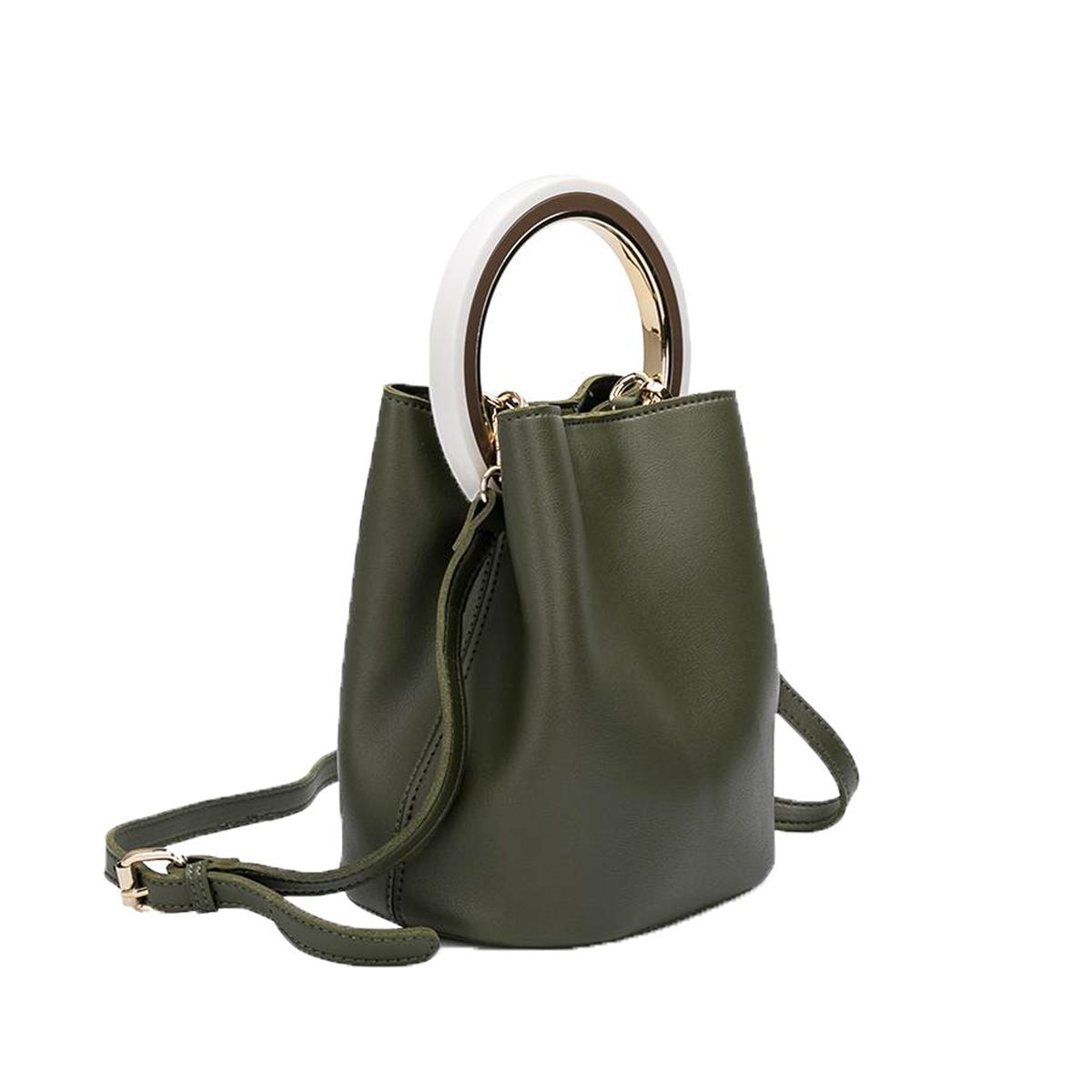 ad17444030a Melie Bianco Gemma Vegan Leather Ring Bucket Crossbody Bag, Olive