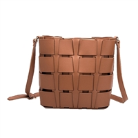 Melie Bianco Frances Vegan Leather Basket Bucket Crossbody,