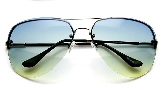 ad1bf64be9 Fashion Culture Quin Silver Semi Rimless Aviator Sunglasses